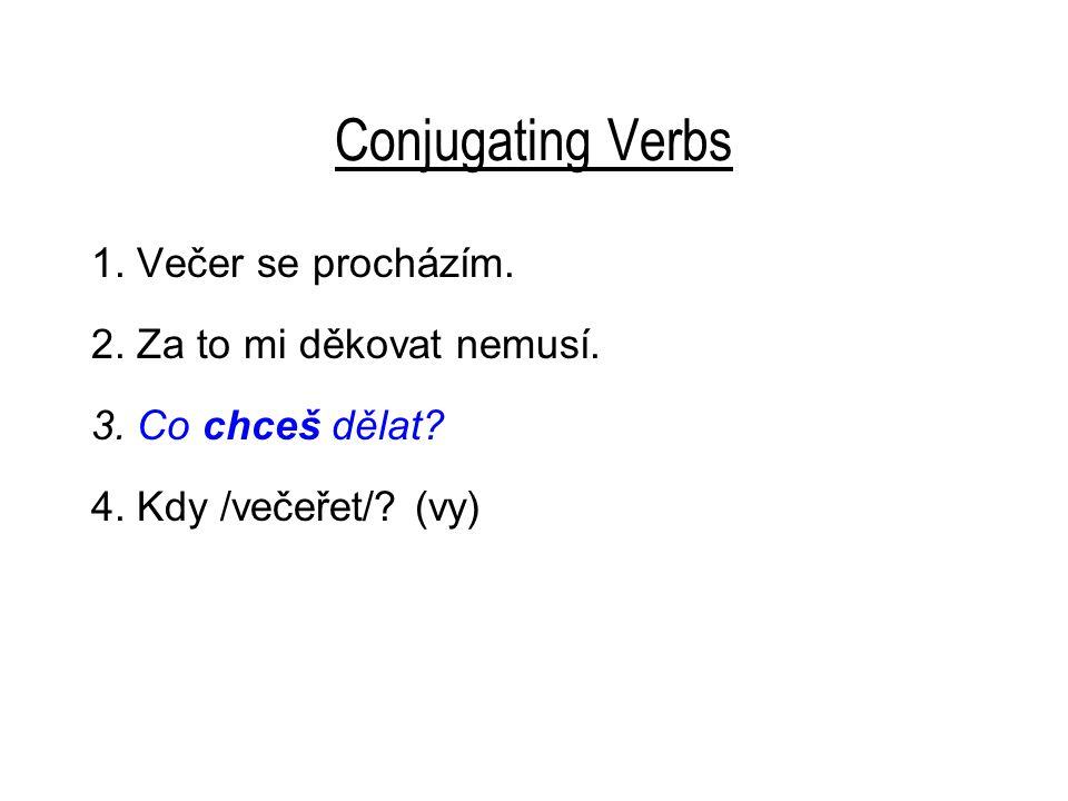 Conjugating Verbs 1. Večer se procházím. 2. Za to mi děkovat nemusí.