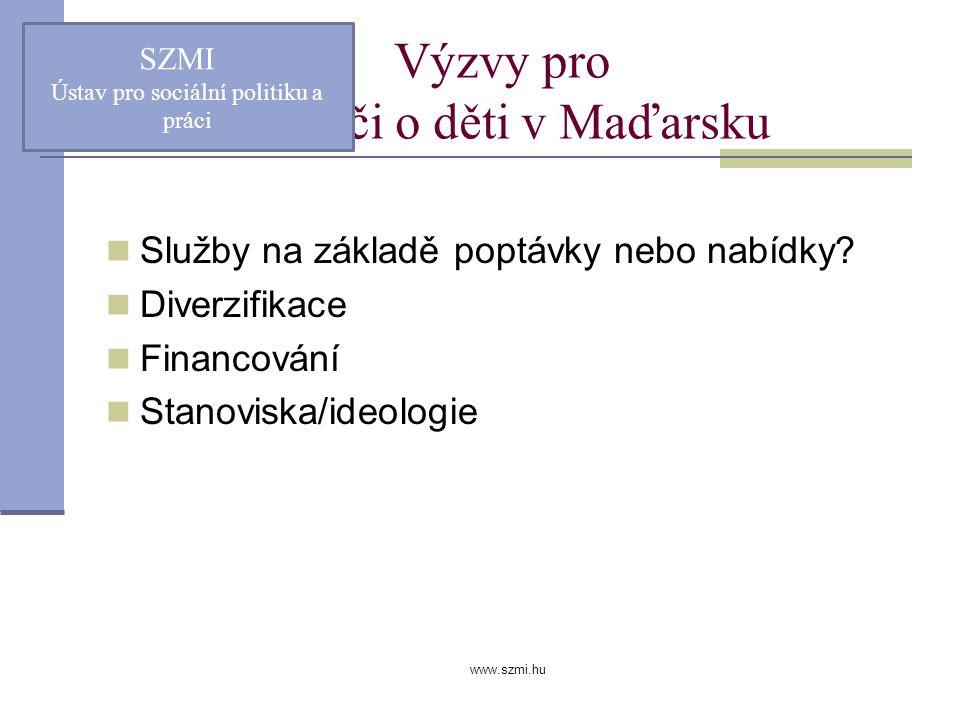 www.szmi.hu Výzvy pro péči o děti v Maďarsku Služby na základě poptávky nebo nabídky.