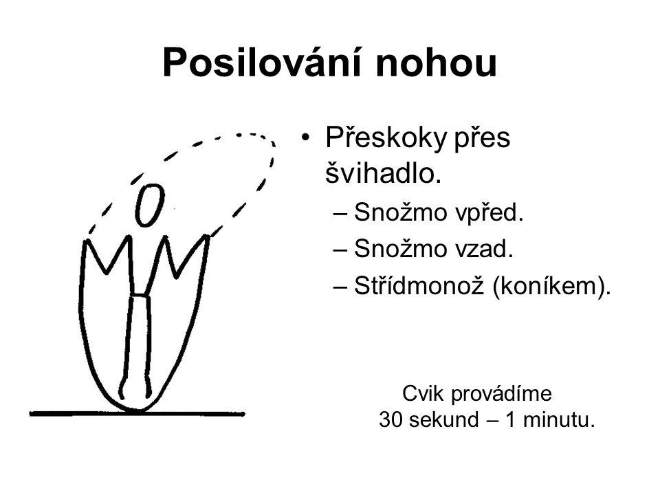 Posilování nohou Stoj na špičkách u stěny na horní části švédské bedny (stepru).