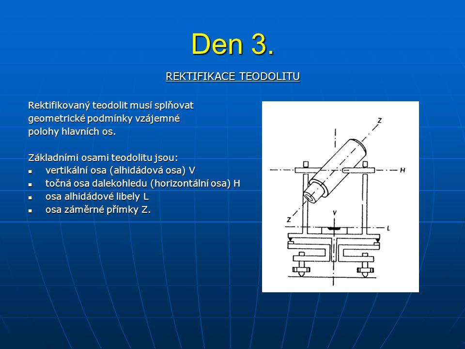 REKTIFIKACE TEODOLITU Rektifikovaný teodolit musí splňovat geometrické podmínky vzájemné polohy hlavních os. Základními osami teodolitu jsou: vertikál