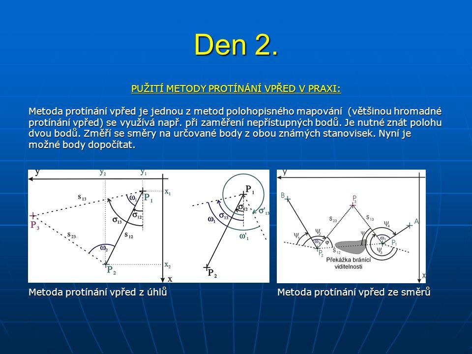 Den 2. PUŽITÍ METODY PROTÍNÁNÍ VPŘED V PRAXI: Metoda protínání vpřed je jednou z metod polohopisného mapování (většinou hromadné protínání vpřed) se v