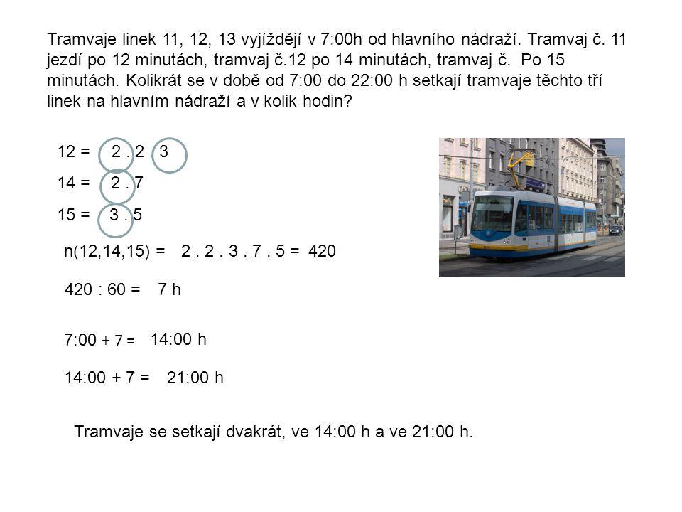 Tramvaje linek 11, 12, 13 vyjíždějí v 7:00h od hlavního nádraží. Tramvaj č. 11 jezdí po 12 minutách, tramvaj č.12 po 14 minutách, tramvaj č. Po 15 min