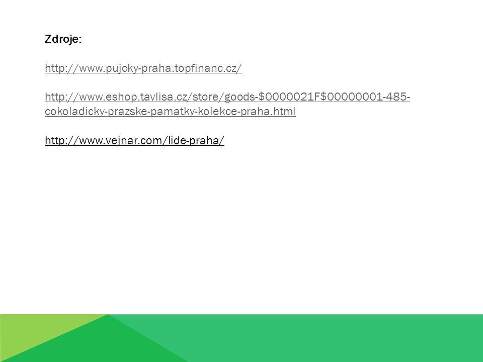 Zdroje: http://www.pujcky-praha.topfinanc.cz/ http://www.eshop.tavlisa.cz/store/goods-$0000021F$00000001-485- cokoladicky-prazske-pamatky-kolekce-praha.html http://www.vejnar.com/lide-praha/