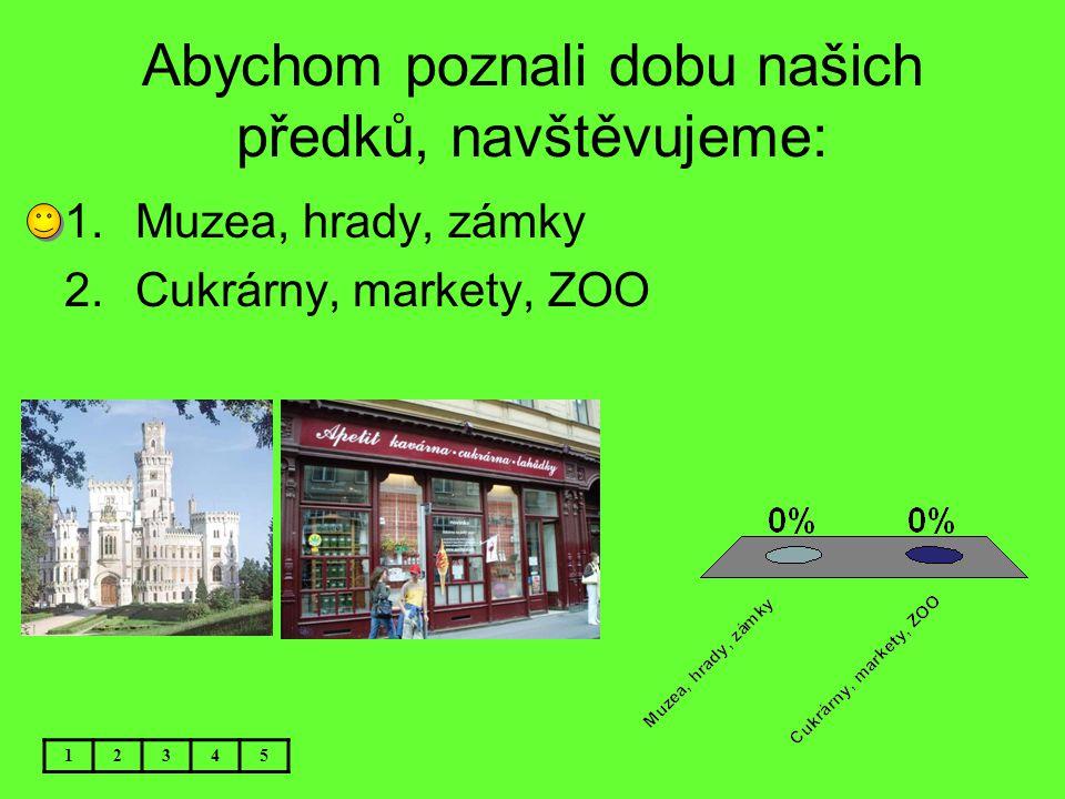 Abychom poznali dobu našich předků, navštěvujeme: 1.Muzea, hrady, zámky 2.Cukrárny, markety, ZOO 12345