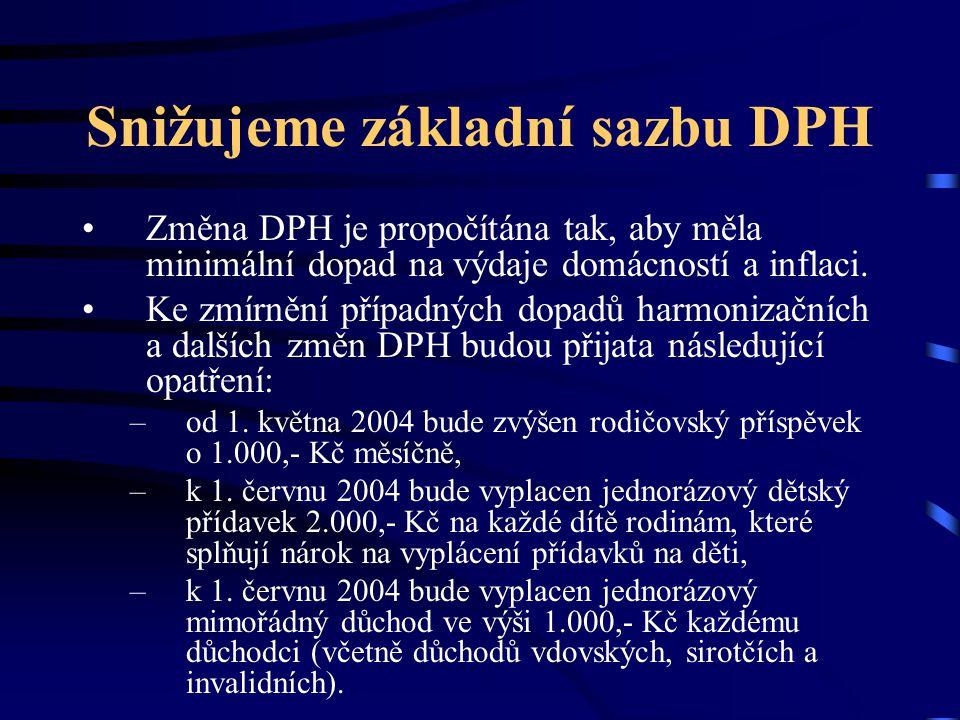 Podporujeme rodiny s dětmi Společné zdanění manželů s dětmi –Přispěje k podpoře rodin, které žijí ve společné domácnosti se svými dětmi –Jedná se o snahu zamezit negativnímu demografickému vývoji české populace Příklady: Jeden z manželů má průměrný příjem, druhý nemá příjmy žádné.