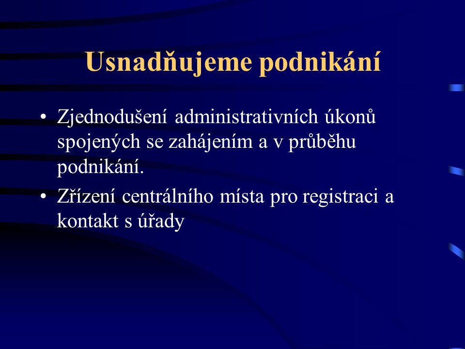 Usnadňujeme podnikání Do roku 2006 snížíme nejradikálnějším způsobem efektivní daň V roce 2006 budou v České republice firmy platit tak nízkou efektivní daň jako ve Slovenské republice.