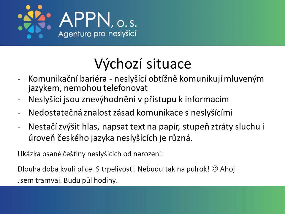 Výchozí situace -Komunikační bariéra - neslyšící obtížně komunikují mluveným jazykem, nemohou telefonovat -Neslyšící jsou znevýhodněni v přístupu k informacím -Nedostatečná znalost zásad komunikace s neslyšícími -Nestačí zvýšit hlas, napsat text na papír, stupeň ztráty sluchu i úroveň českého jazyka neslyšících je různá.