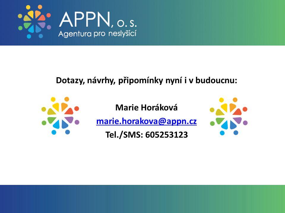 Dotazy, návrhy, připomínky nyní i v budoucnu: Marie Horáková marie.horakova@appn.cz Tel./SMS: 605253123