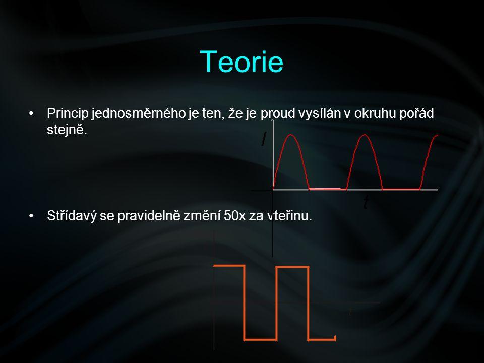 Teorie Princip jednosměrného je ten, že je proud vysílán v okruhu pořád stejně. Střídavý se pravidelně změní 50x za vteřinu.