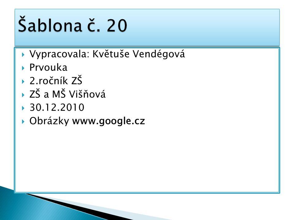  Vypracovala: Květuše Vendégová  Prvouka  2.ročník ZŠ  ZŠ a MŠ Višňová  30.12.2010  Obrázky www.google.cz
