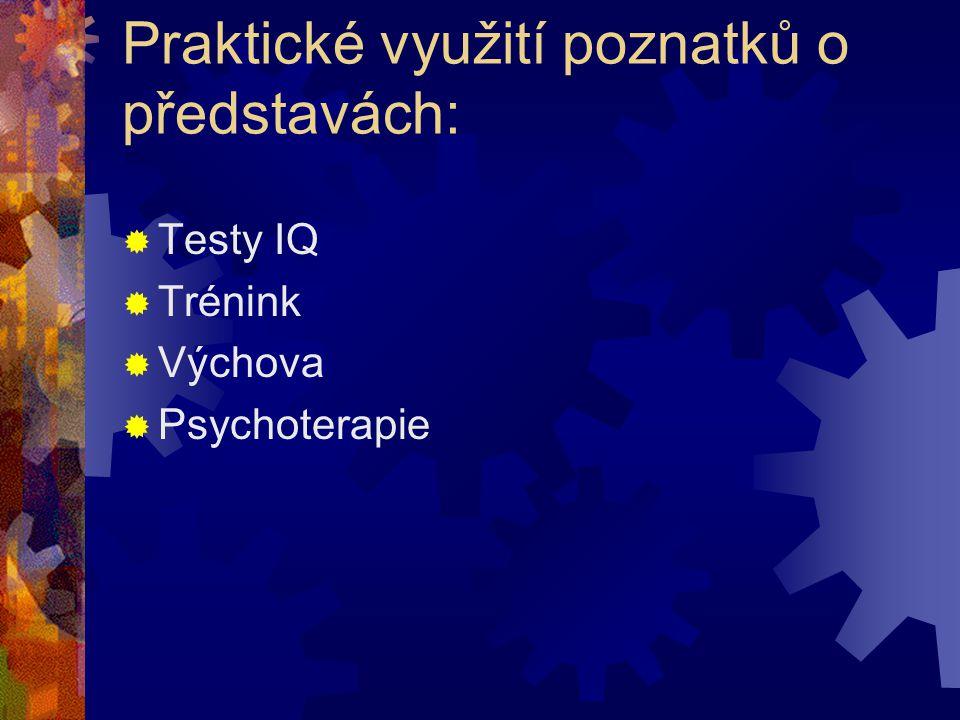 Praktické využití poznatků o představách:  Testy IQ  Trénink  Výchova  Psychoterapie