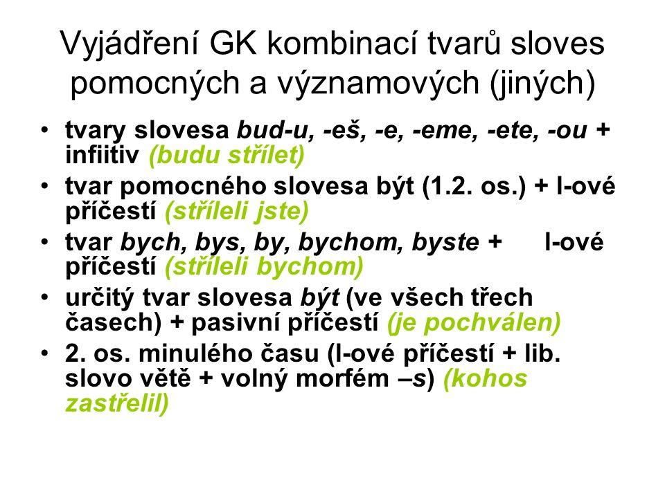 Vyjádření GK kombinací tvarů sloves pomocných a významových (jiných) tvary slovesa bud-u, -eš, -e, -eme, -ete, -ou + infiitiv (budu střílet) tvar pomo