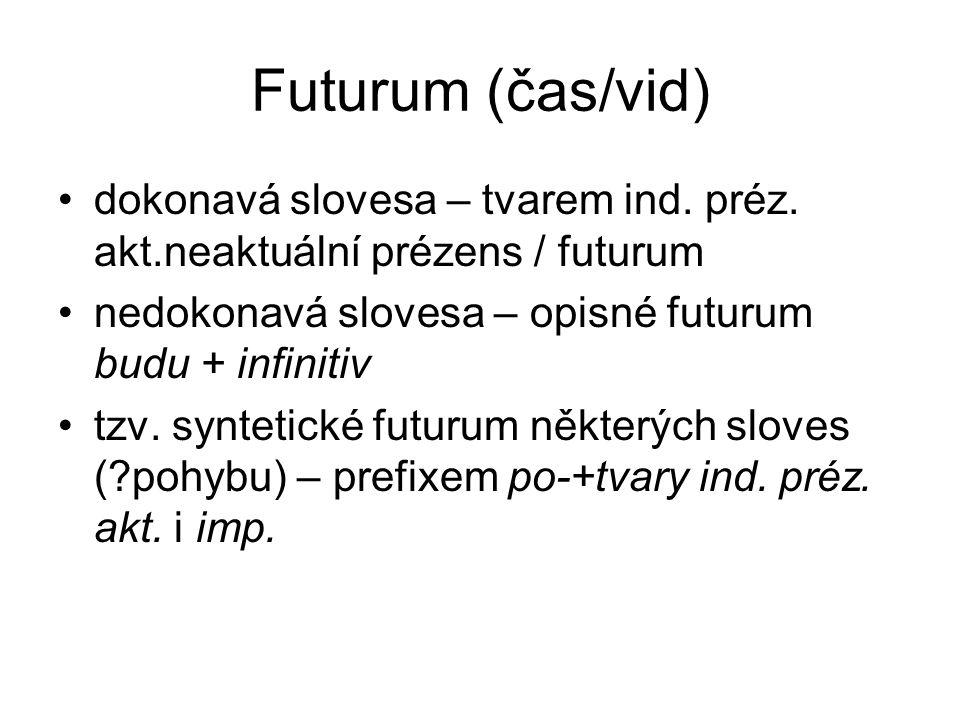 Futurum (čas/vid) dokonavá slovesa – tvarem ind. préz. akt.neaktuální prézens / futurum nedokonavá slovesa – opisné futurum budu + infinitiv tzv. synt