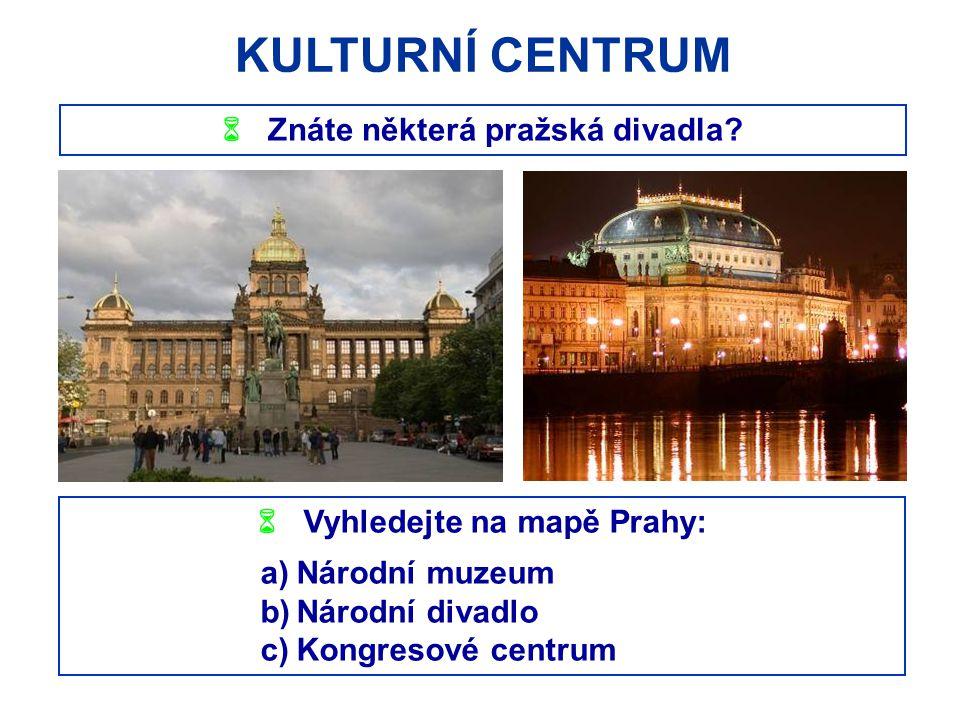 KULTURNÍ CENTRUM  Znáte některá pražská divadla?  Vyhledejte na mapě Prahy: a)Národní muzeum b)Národní divadlo c)Kongresové centrum