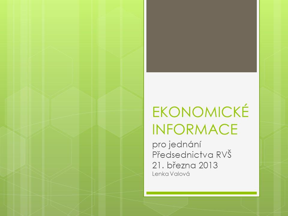 EKONOMICKÉ INFORMACE pro jednání Předsednictva RVŠ 21. března 2013 Lenka Valová