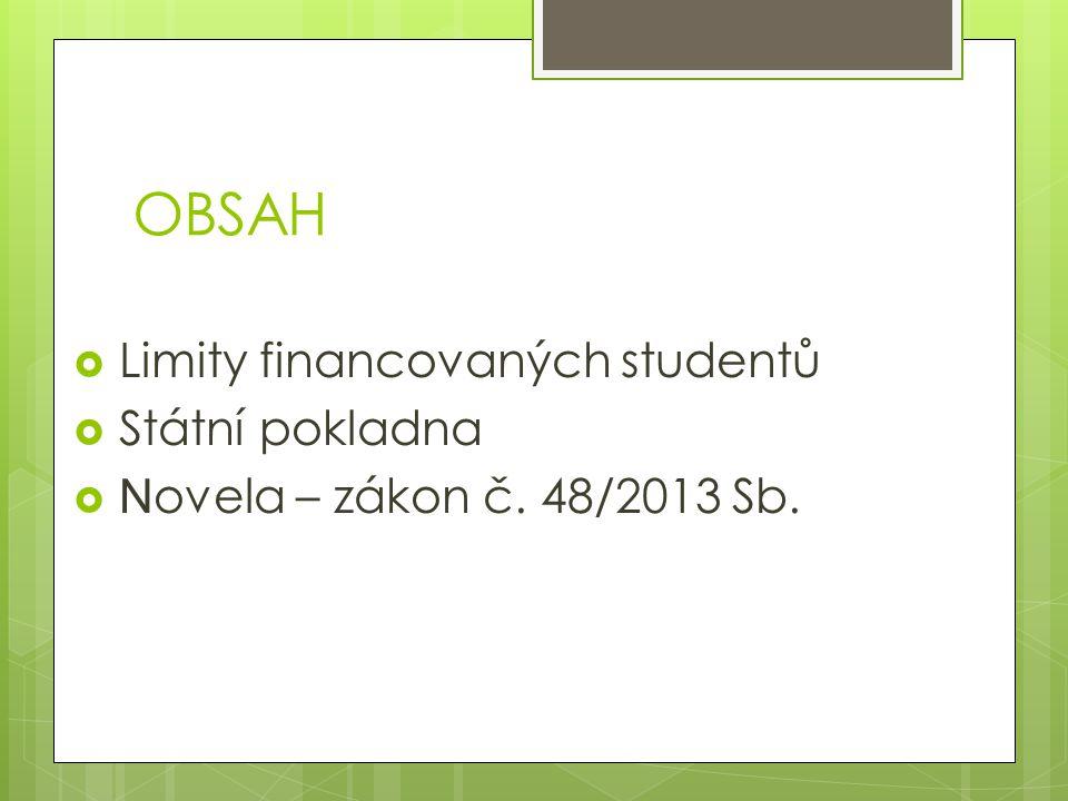 OBSAH  Limity financovaných studentů  Státní pokladna  N ovela – zákon č. 48/2013 Sb.