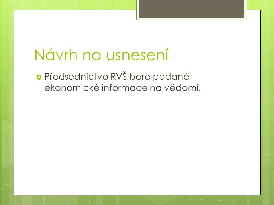 Návrh na usnesení  Předsednictvo RVŠ bere podané ekonomické informace na vědomí.