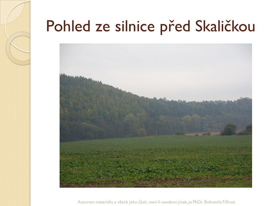 Pohled ze silnice před Skaličkou Autorem materiálu a všech jeho částí, není-li uvedeno jinak, je PhDr. Bohumila Fillová.