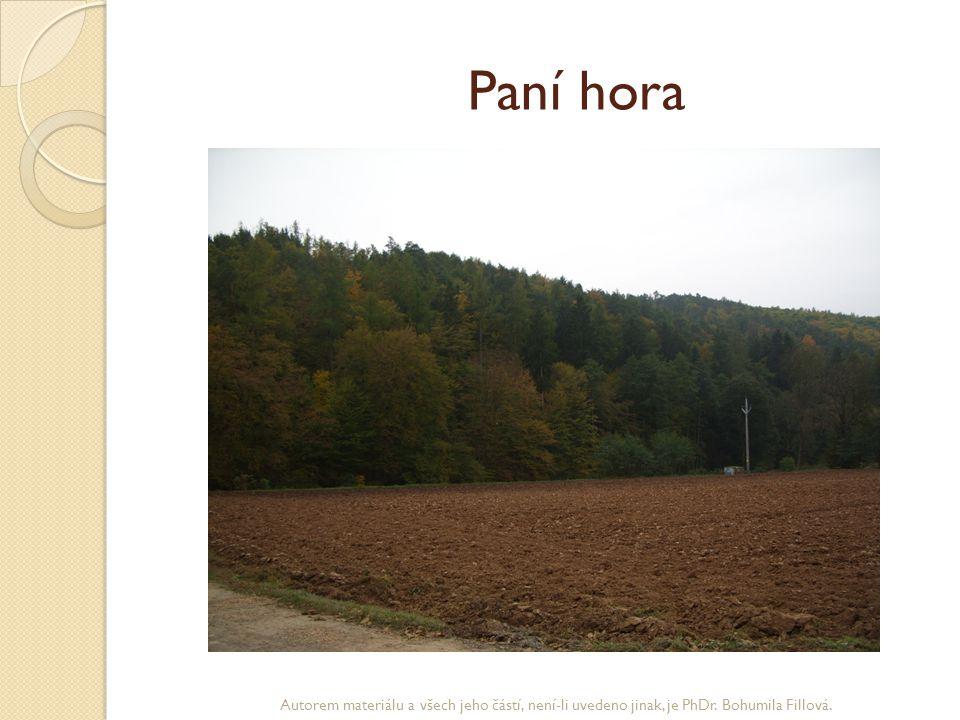 Paní hora Autorem materiálu a všech jeho částí, není-li uvedeno jinak, je PhDr. Bohumila Fillová.