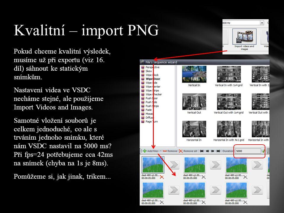 Trik na zkrácení snímků není až tak složitý – po importu snímků do VSDC dostaneme sprite s mnoha obrázky – otevřete si ho.