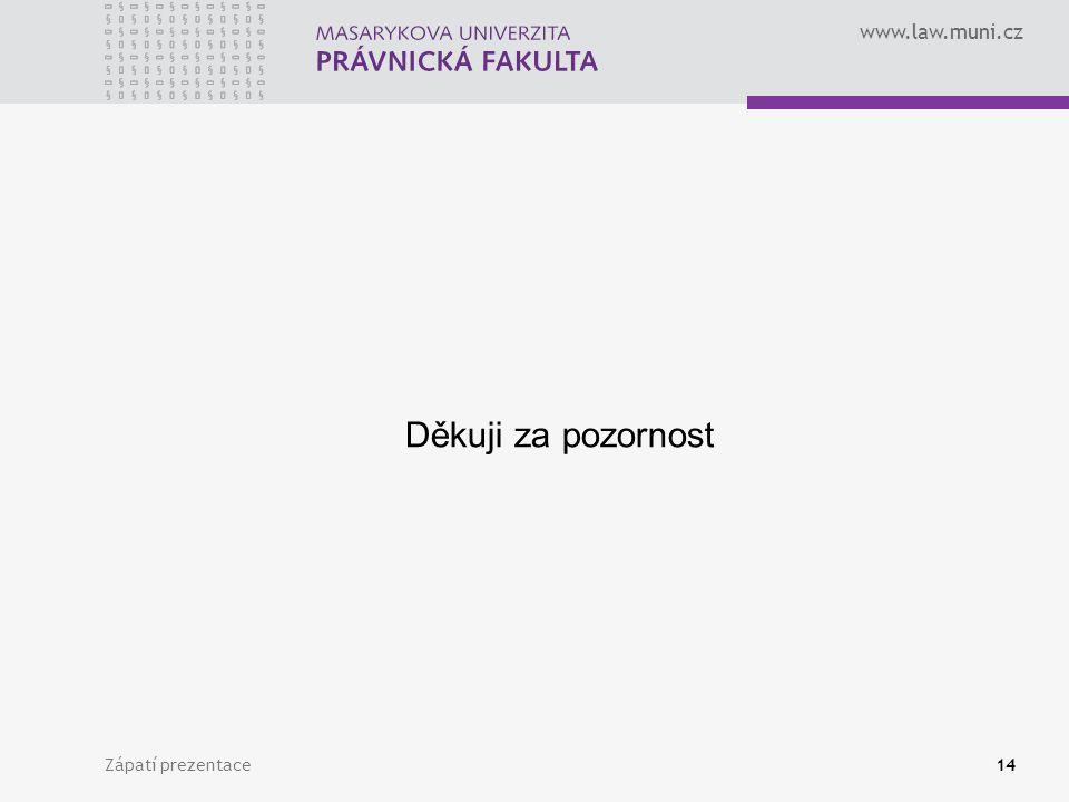 www.law.muni.cz Děkuji za pozornost Zápatí prezentace14