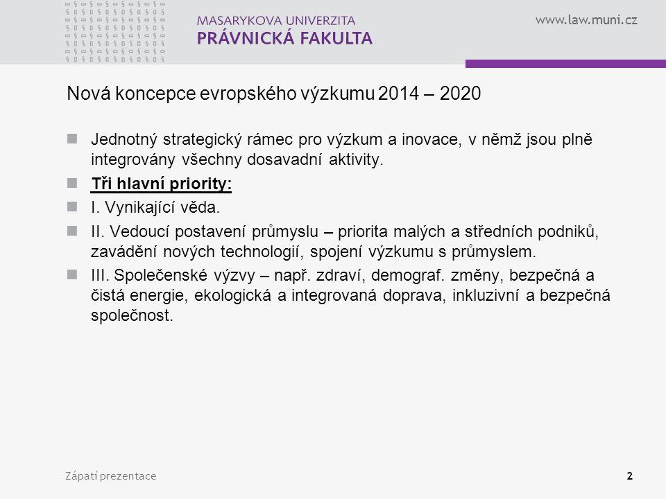 www.law.muni.cz Zápatí prezentace2 Nová koncepce evropského výzkumu 2014 – 2020 Jednotný strategický rámec pro výzkum a inovace, v němž jsou plně integrovány všechny dosavadní aktivity.