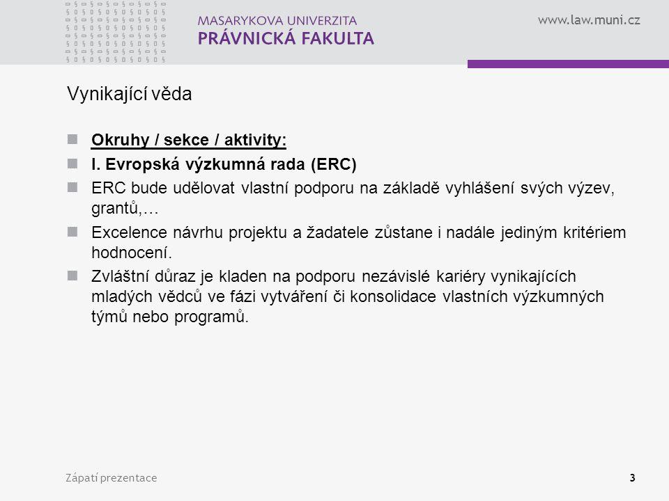 www.law.muni.cz Vynikající věda Okruhy / sekce / aktivity: I. Evropská výzkumná rada (ERC) ERC bude udělovat vlastní podporu na základě vyhlášení svýc