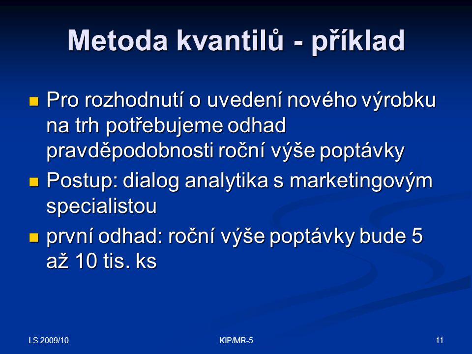 LS 2009/10 11KIP/MR-5 Metoda kvantilů - příklad Pro rozhodnutí o uvedení nového výrobku na trh potřebujeme odhad pravděpodobnosti roční výše poptávky Pro rozhodnutí o uvedení nového výrobku na trh potřebujeme odhad pravděpodobnosti roční výše poptávky Postup: dialog analytika s marketingovým specialistou Postup: dialog analytika s marketingovým specialistou první odhad: roční výše poptávky bude 5 až 10 tis.
