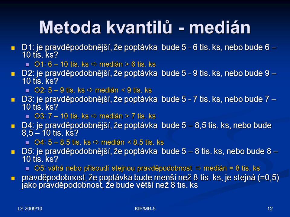 LS 2009/10 12KIP/MR-5 Metoda kvantilů - medián D1: je pravděpodobnější, že poptávka bude 5 - 6 tis.