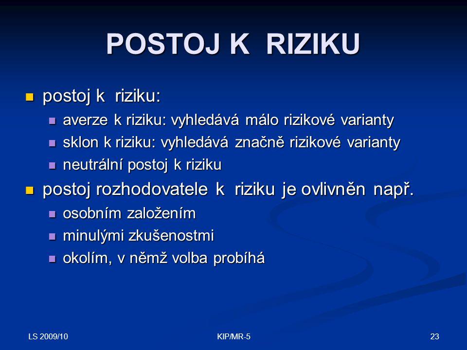 LS 2009/10 23KIP/MR-5 POSTOJ K RIZIKU postoj k riziku: postoj k riziku: averze k riziku: vyhledává málo rizikové varianty averze k riziku: vyhledává málo rizikové varianty sklon k riziku: vyhledává značně rizikové varianty sklon k riziku: vyhledává značně rizikové varianty neutrální postoj k riziku neutrální postoj k riziku postoj rozhodovatele k riziku je ovlivněn např.