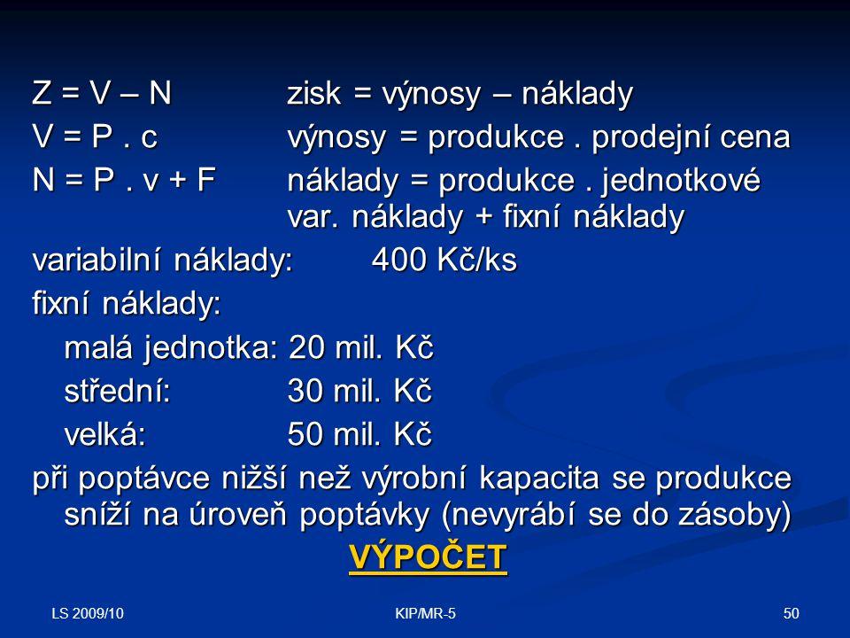LS 2009/10 50KIP/MR-5 Z = V – Nzisk = výnosy – náklady V = P.