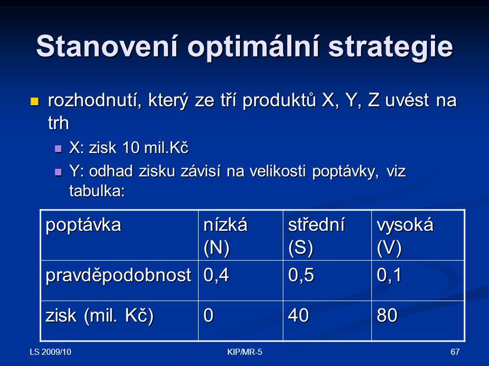 LS 2009/10 67KIP/MR-5 Stanovení optimální strategie rozhodnutí, který ze tří produktů X, Y, Z uvést na trh rozhodnutí, který ze tří produktů X, Y, Z uvést na trh X: zisk 10 mil.Kč X: zisk 10 mil.Kč Y: odhad zisku závisí na velikosti poptávky, viz tabulka: Y: odhad zisku závisí na velikosti poptávky, viz tabulka: poptávka nízká (N) střední (S) vysoká (V) pravděpodobnost0,40,50,1 zisk (mil.