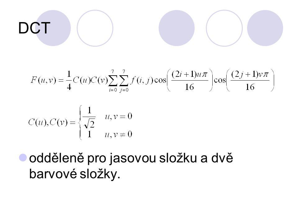 DCT odděleně pro jasovou složku a dvě barvové složky.