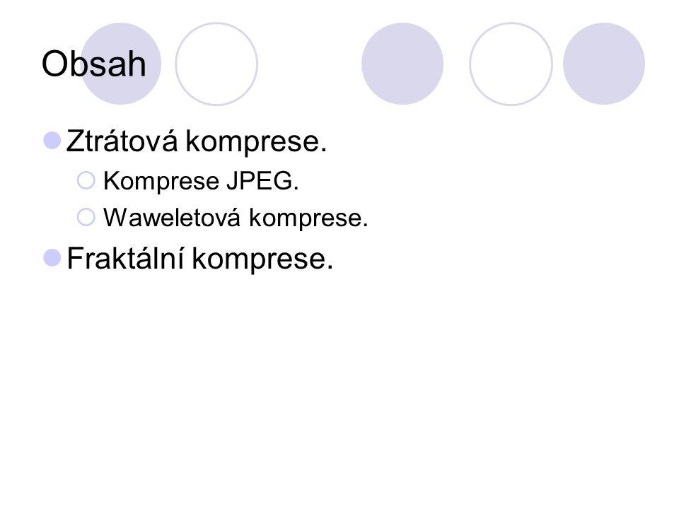 Obsah Ztrátová komprese.  Komprese JPEG.  Waweletová komprese. Fraktální komprese.