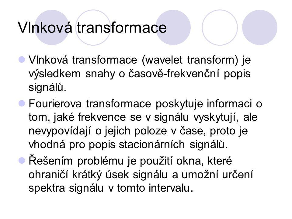 Vlnková transformace Vlnková transformace (wavelet transform) je výsledkem snahy o časově-frekvenční popis signálů. Fourierova transformace poskytuje