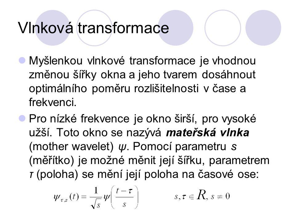 Vlnková transformace Myšlenkou vlnkové transformace je vhodnou změnou šířky okna a jeho tvarem dosáhnout optimálního poměru rozlišitelnosti v čase a f