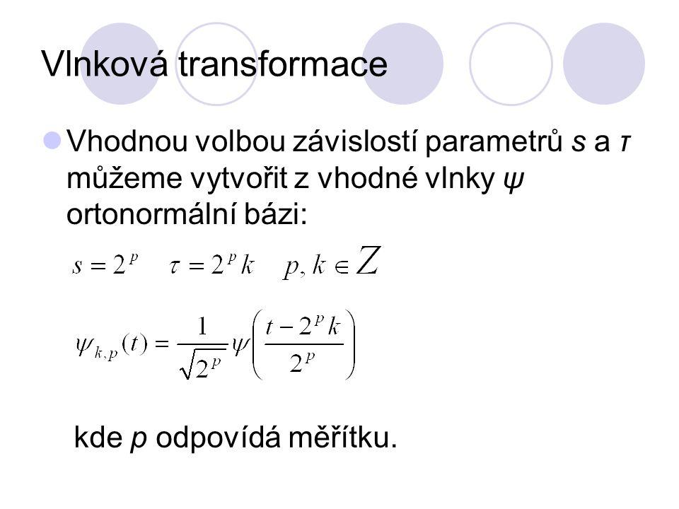 Vlnková transformace Vhodnou volbou závislostí parametrů s a τ můžeme vytvořit z vhodné vlnky ψ ortonormální bázi: kde p odpovídá měřítku.