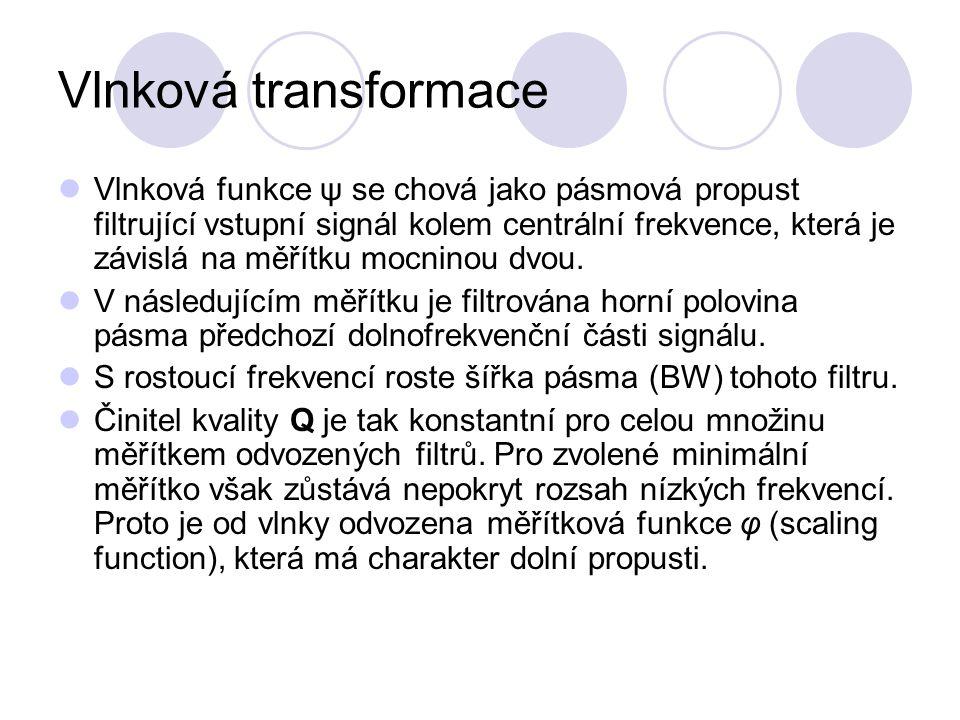 Vlnková transformace Vlnková funkce ψ se chová jako pásmová propust filtrující vstupní signál kolem centrální frekvence, která je závislá na měřítku m
