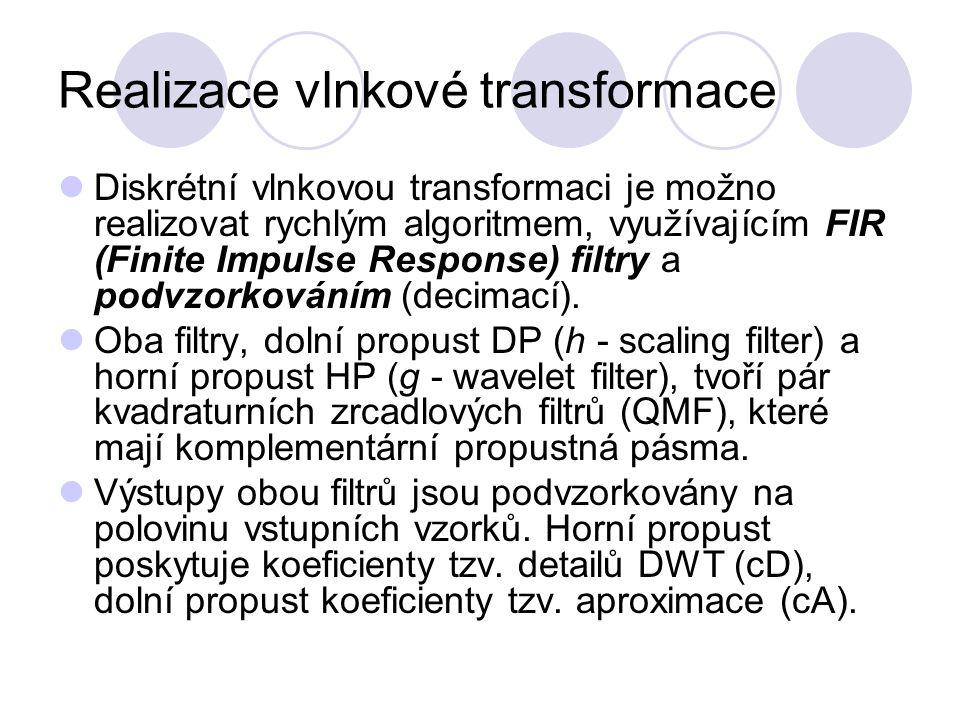 Realizace vlnkové transformace Diskrétní vlnkovou transformaci je možno realizovat rychlým algoritmem, využívajícím FIR (Finite Impulse Response) filt