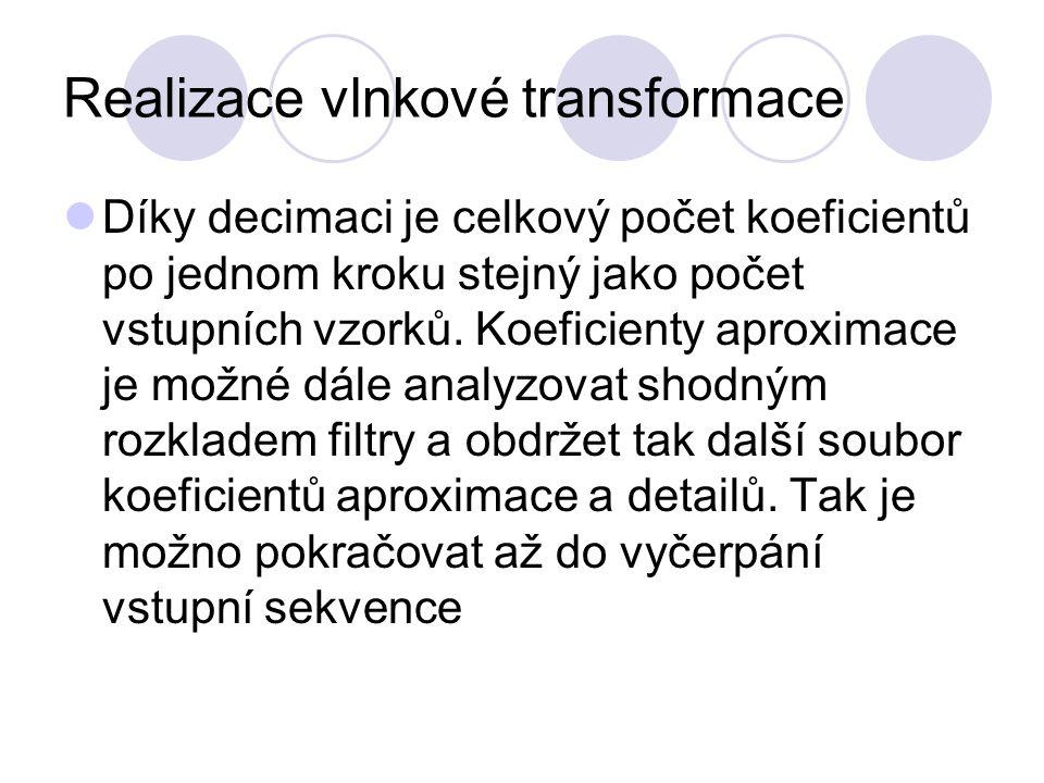 Realizace vlnkové transformace Díky decimaci je celkový počet koeficientů po jednom kroku stejný jako počet vstupních vzorků. Koeficienty aproximace j