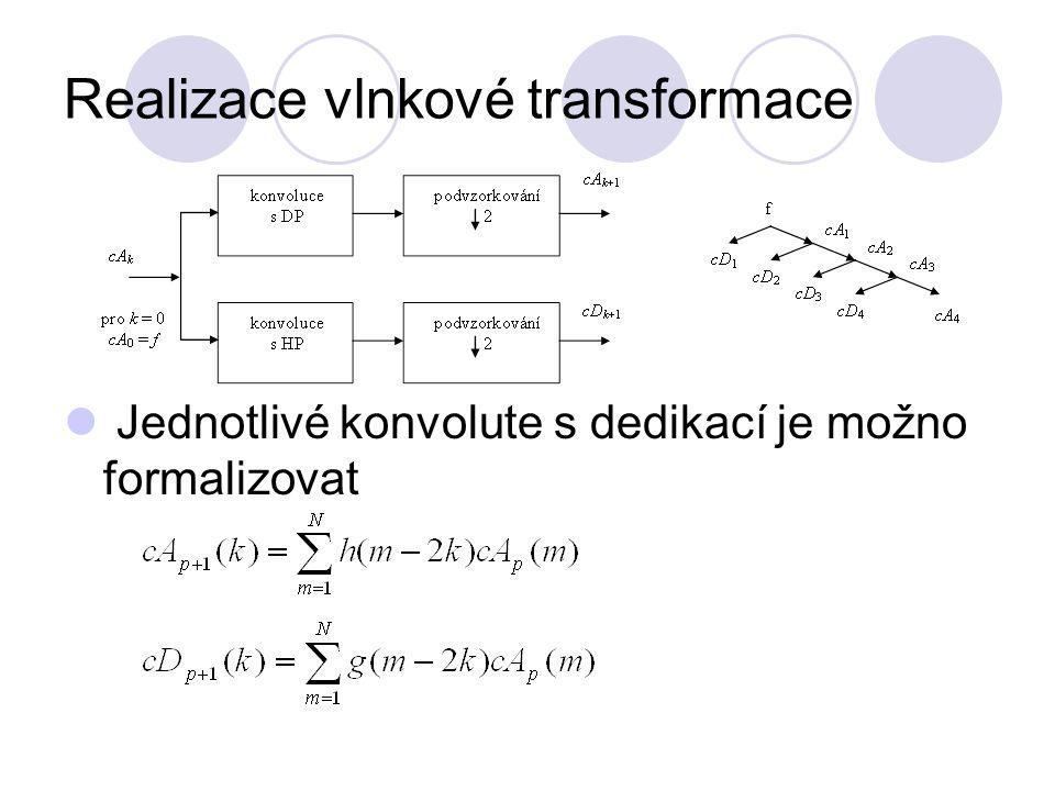 Realizace vlnkové transformace Jednotlivé konvolute s dedikací je možno formalizovat