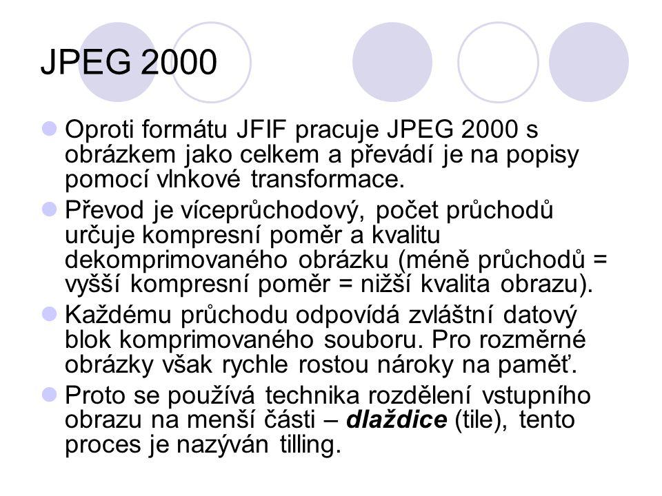 JPEG 2000 Oproti formátu JFIF pracuje JPEG 2000 s obrázkem jako celkem a převádí je na popisy pomocí vlnkové transformace. Převod je víceprůchodový, p