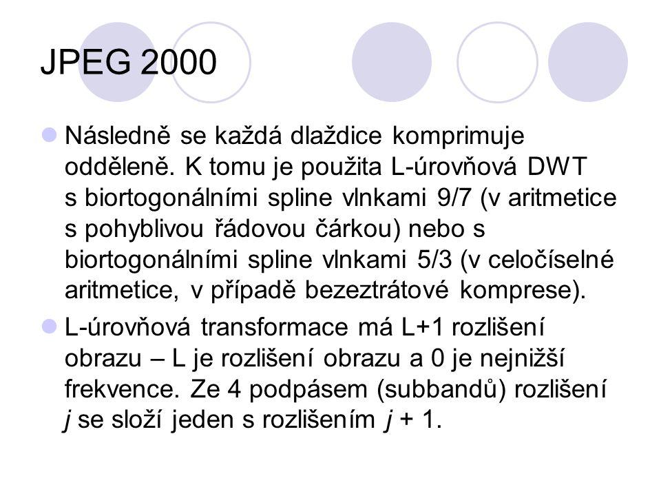 JPEG 2000 Následně se každá dlaždice komprimuje odděleně. K tomu je použita L-úrovňová DWT s biortogonálními spline vlnkami 9/7 (v aritmetice s pohybl