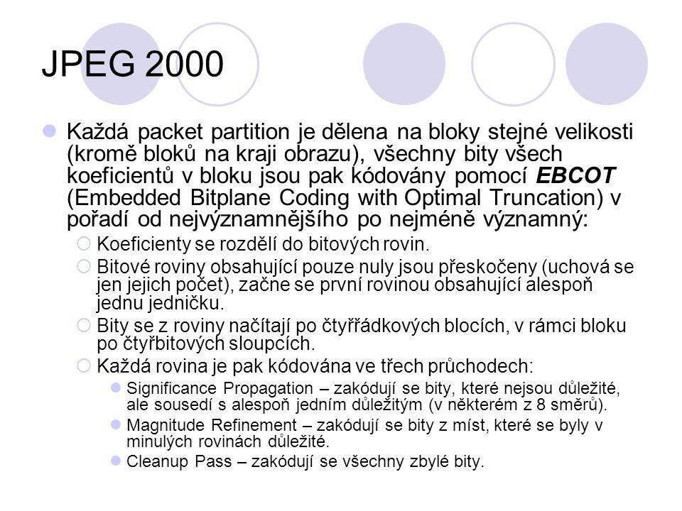 JPEG 2000 Každá packet partition je dělena na bloky stejné velikosti (kromě bloků na kraji obrazu), všechny bity všech koeficientů v bloku jsou pak kó