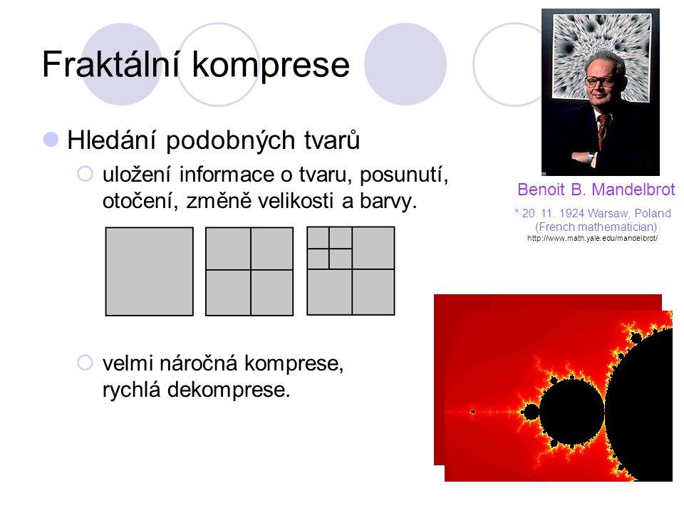 Fraktální komprese Hledání podobných tvarů  uložení informace o tvaru, posunutí, otočení, změně velikosti a barvy.  velmi náročná komprese, rychlá d
