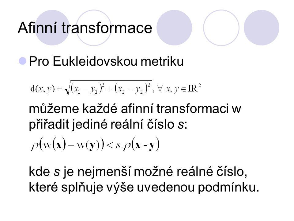 Afinní transformace Pro Eukleidovskou metriku můžeme každé afinní transformaci w přiřadit jediné reální číslo s: kde s je nejmenší možné reálné číslo,