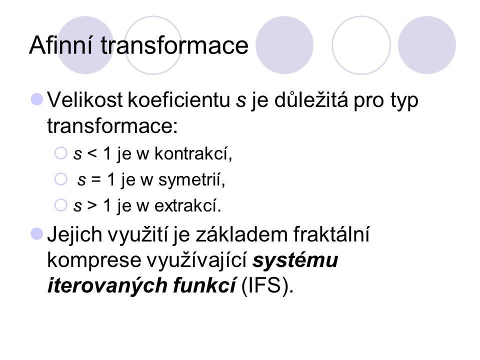 Afinní transformace Velikost koeficientu s je důležitá pro typ transformace:  s < 1 je w kontrakcí,  s = 1 je w symetrií,  s > 1 je w extrakcí. Jej