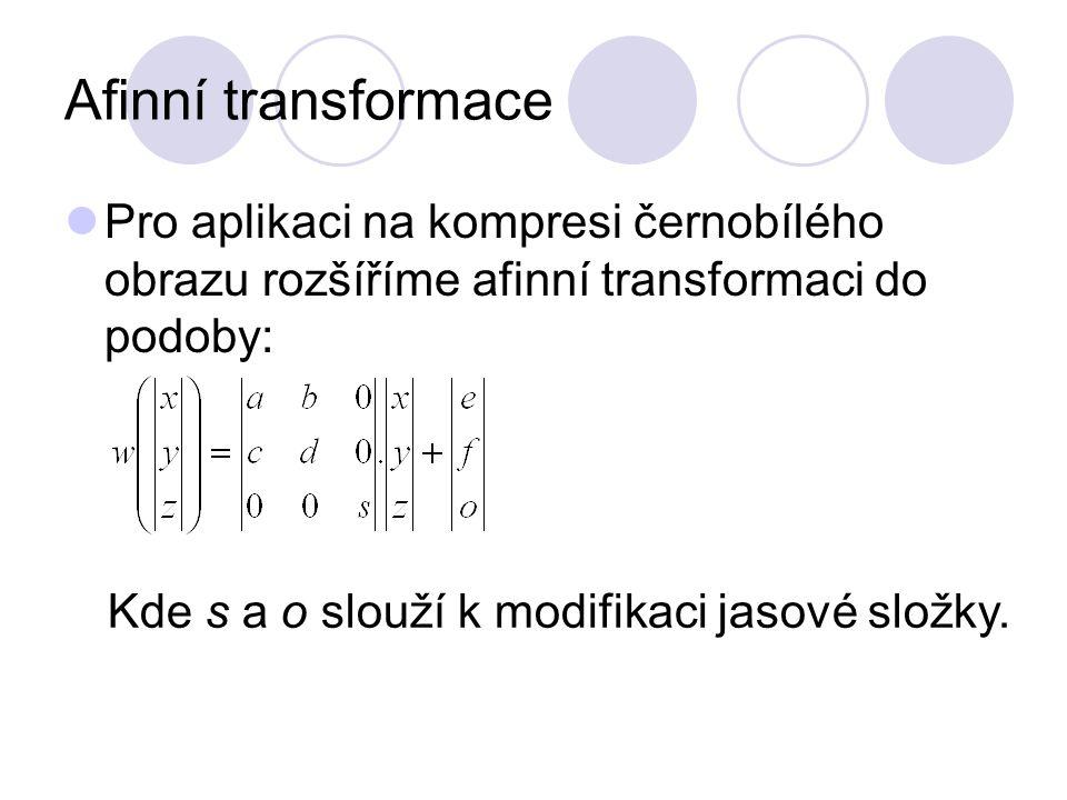 Afinní transformace Pro aplikaci na kompresi černobílého obrazu rozšíříme afinní transformaci do podoby: Kde s a o slouží k modifikaci jasové složky.