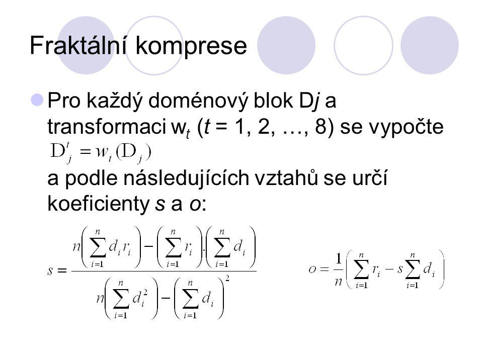Fraktální komprese Pro každý doménový blok Dj a transformaci w t (t = 1, 2, …, 8) se vypočte a podle následujících vztahů se určí koeficienty s a o: