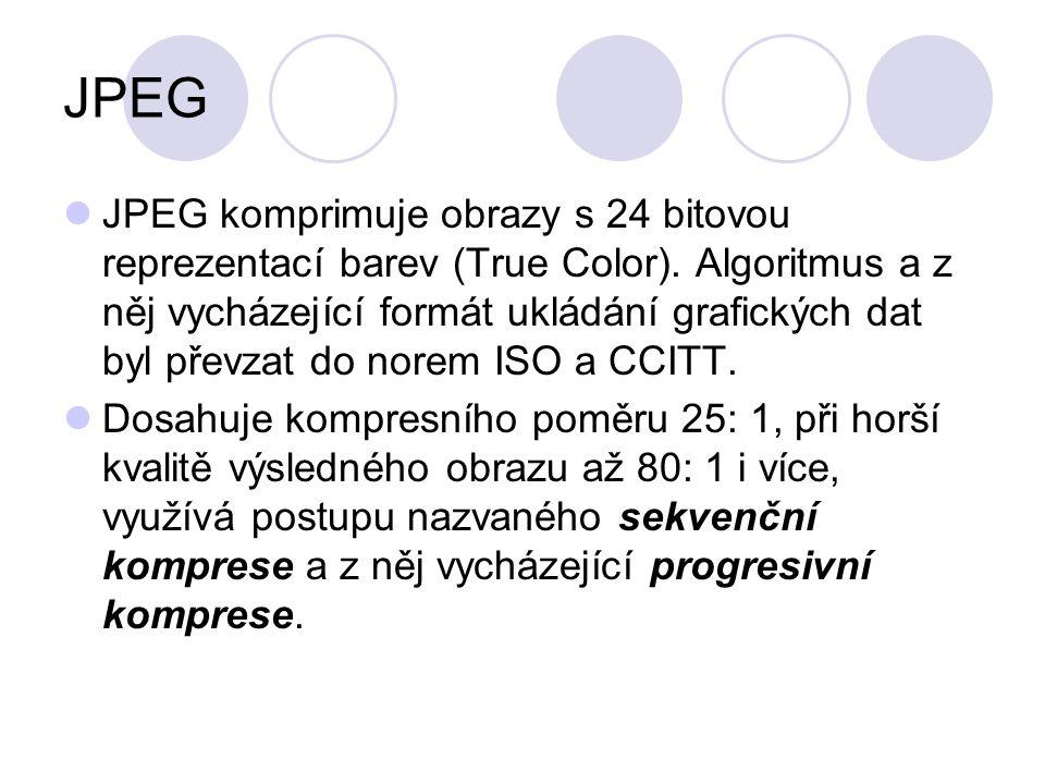 JPEG JPEG komprimuje obrazy s 24 bitovou reprezentací barev (True Color). Algoritmus a z něj vycházející formát ukládání grafických dat byl převzat do